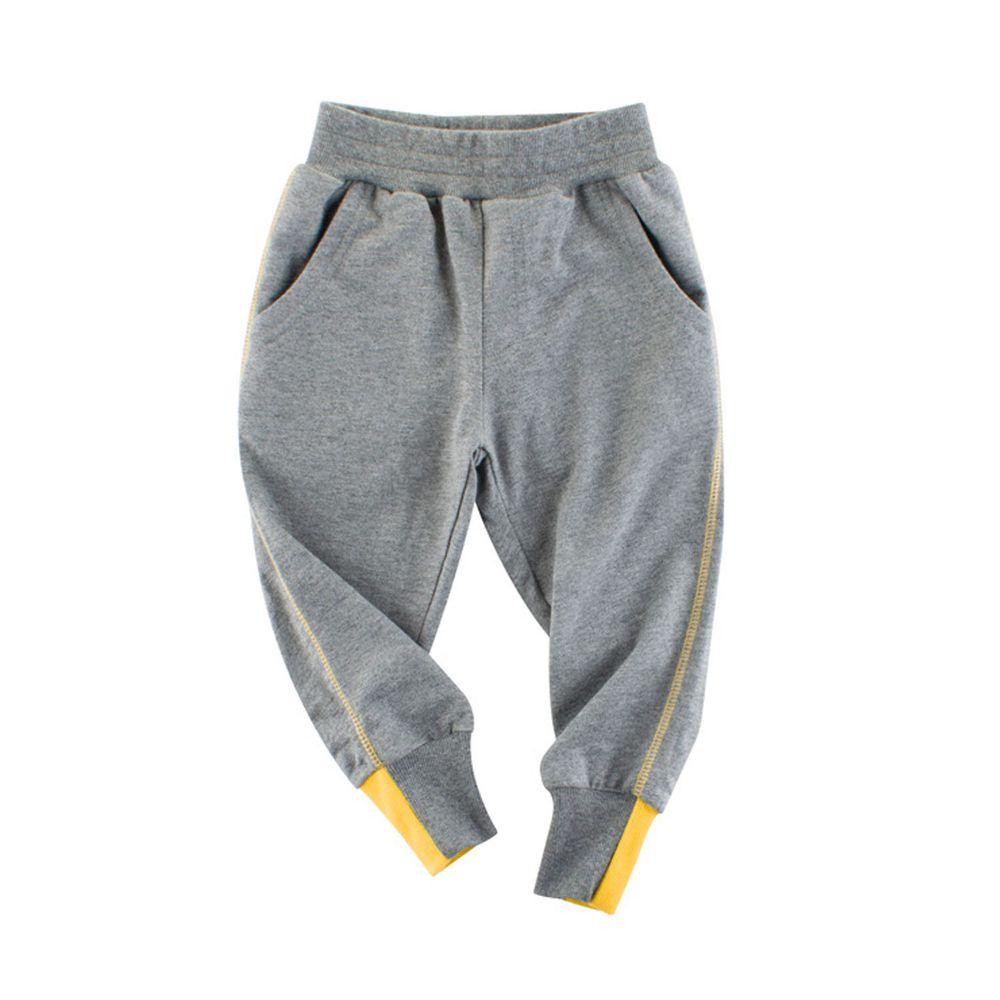 純棉長褲-縮口撞色-灰色