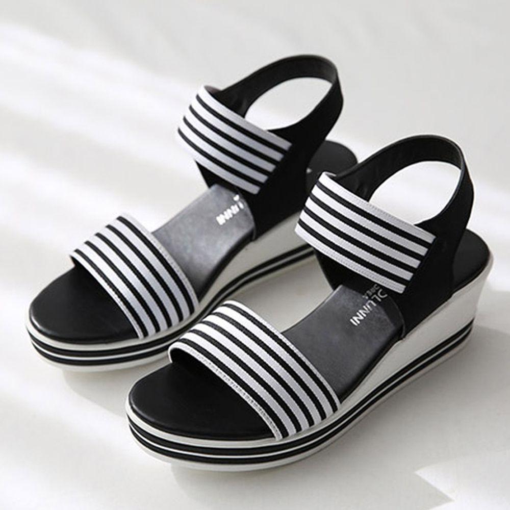 韓國 Dangolunni - 條紋伸縮帶後增高涼鞋(5.5cm高)-黑