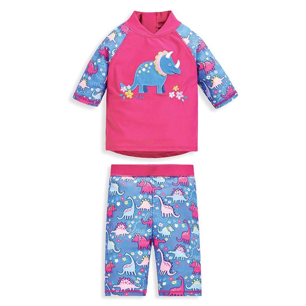 英國 JoJo Maman BeBe - 嬰幼兒/兒童兩件式防曬泳裝-粉藍三角龍