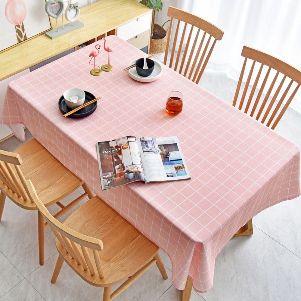 防水防油免洗桌布-簡約格紋-粉色