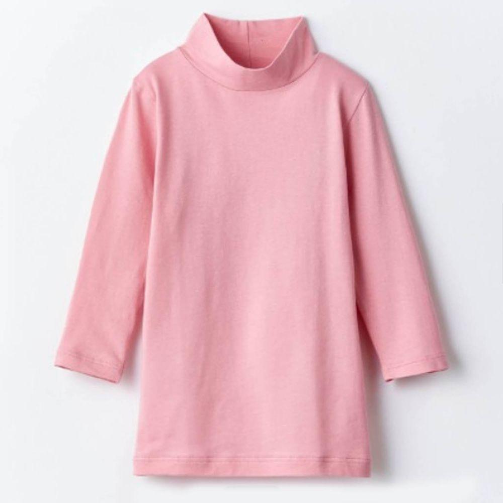 日本千趣會 - 95%棉 (兒童)九分袖高領發熱衣-粉紅