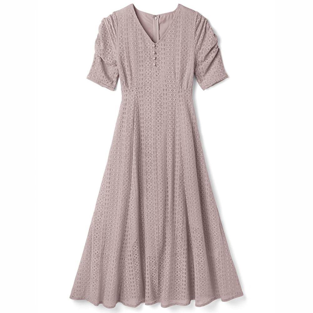 日本 GRL - 明星聯名款 復古蕾絲雕花短袖洋裝-沙漠玫瑰