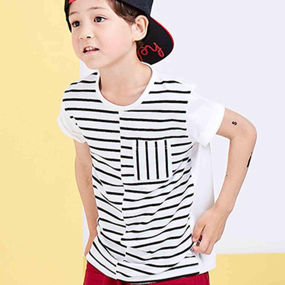 麗嬰房 Little moni - 美式休閒條紋撞色棉T-白色
