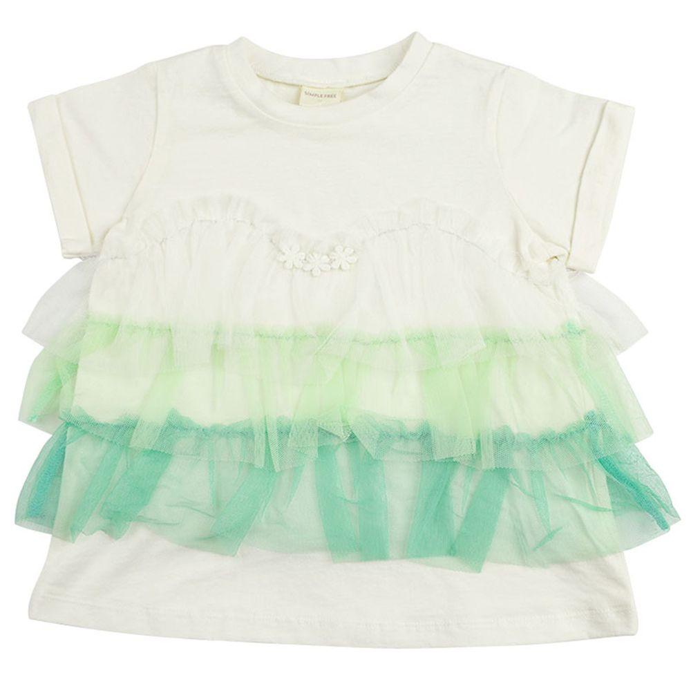 akachan honpo - 短袖彩色薄紗T恤-白色