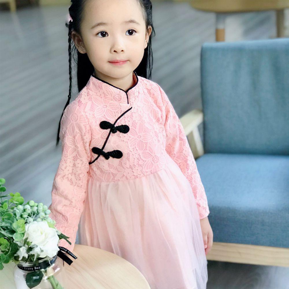 新年 - 優雅蕾絲旗袍紗裙-粉色