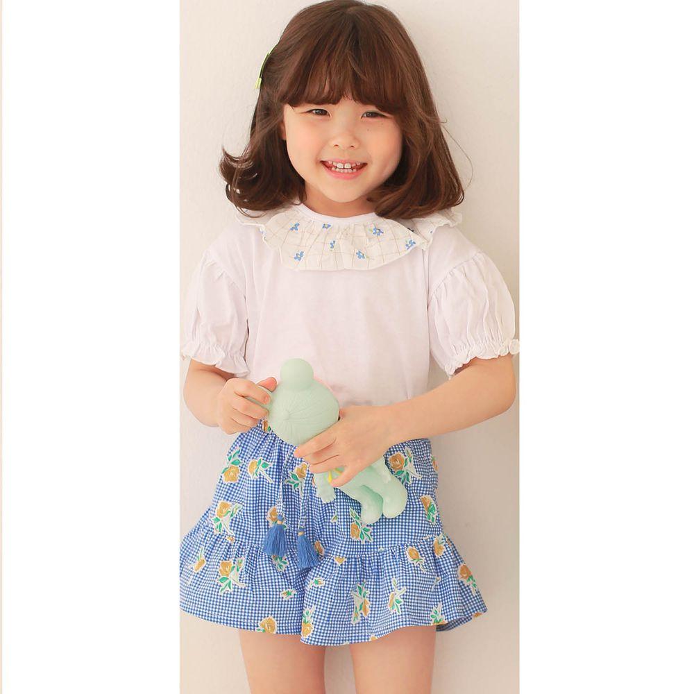 韓國 Dalla - 花花荷葉領上衣+格子花花褲裙套裝-白上衣+藍褲