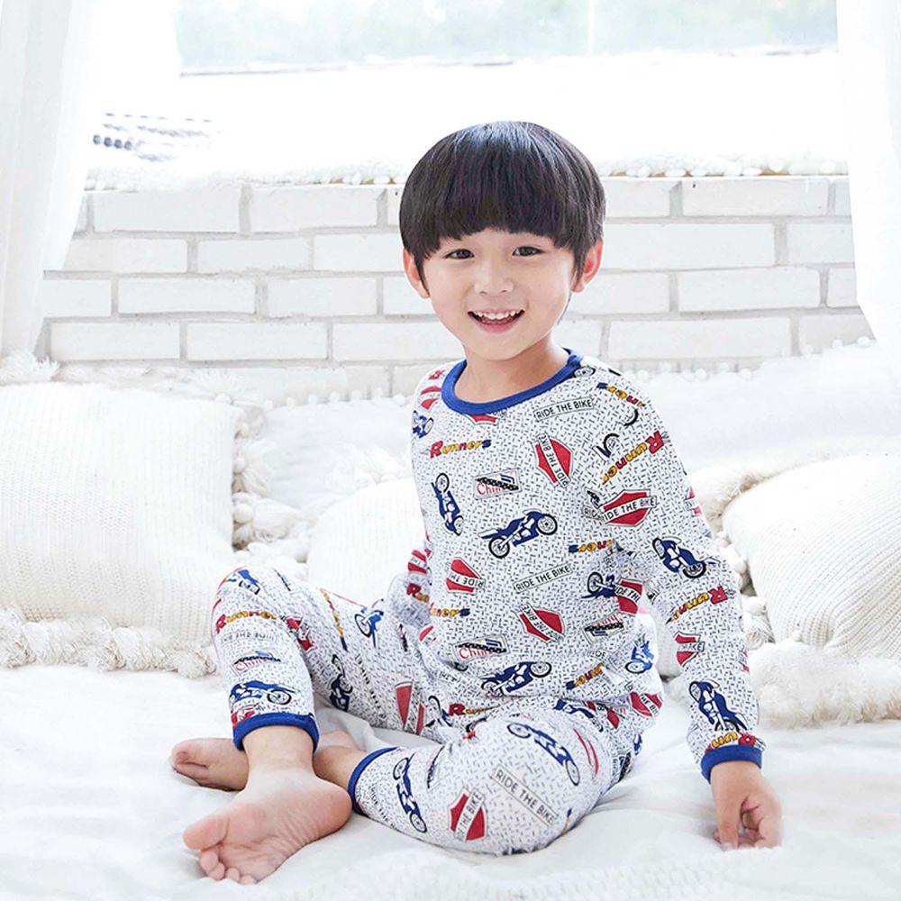 ZIHOU - 兒童秋季純棉居家服-奔馳摩托車