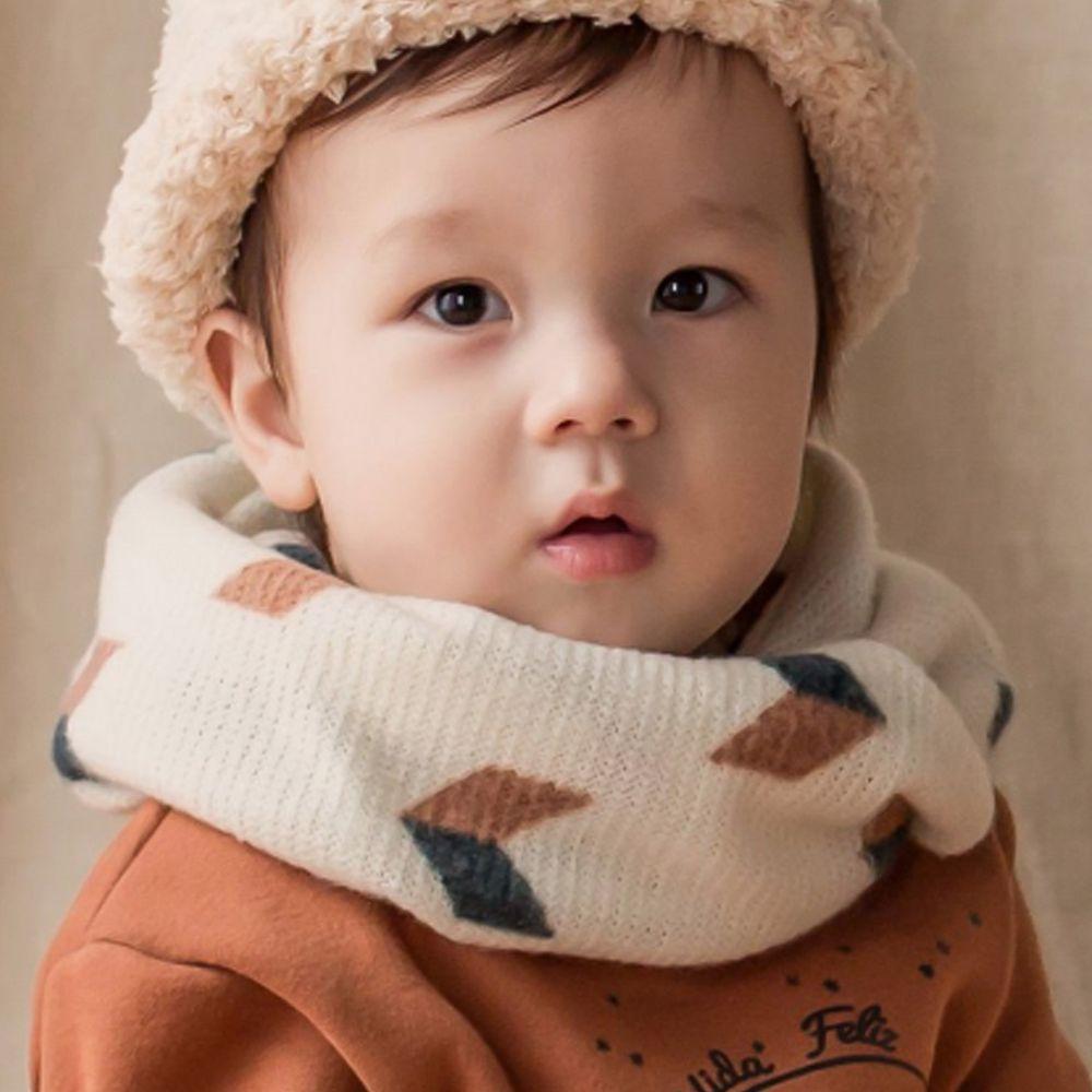 韓國 Happy Prince - 針織圍脖-幾何圖形-象牙白 (3-48m)