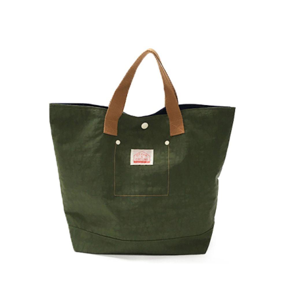日本 OCEAN&GROUND - 經典休閒大容量手提袋-GOODAY 純色-墨綠 KK (33x31x12cm)