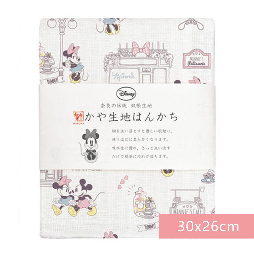 日本代購 - 【和布華】日本製奈良五重紗 手帕-米奇米妮約會去 (30x26cm)