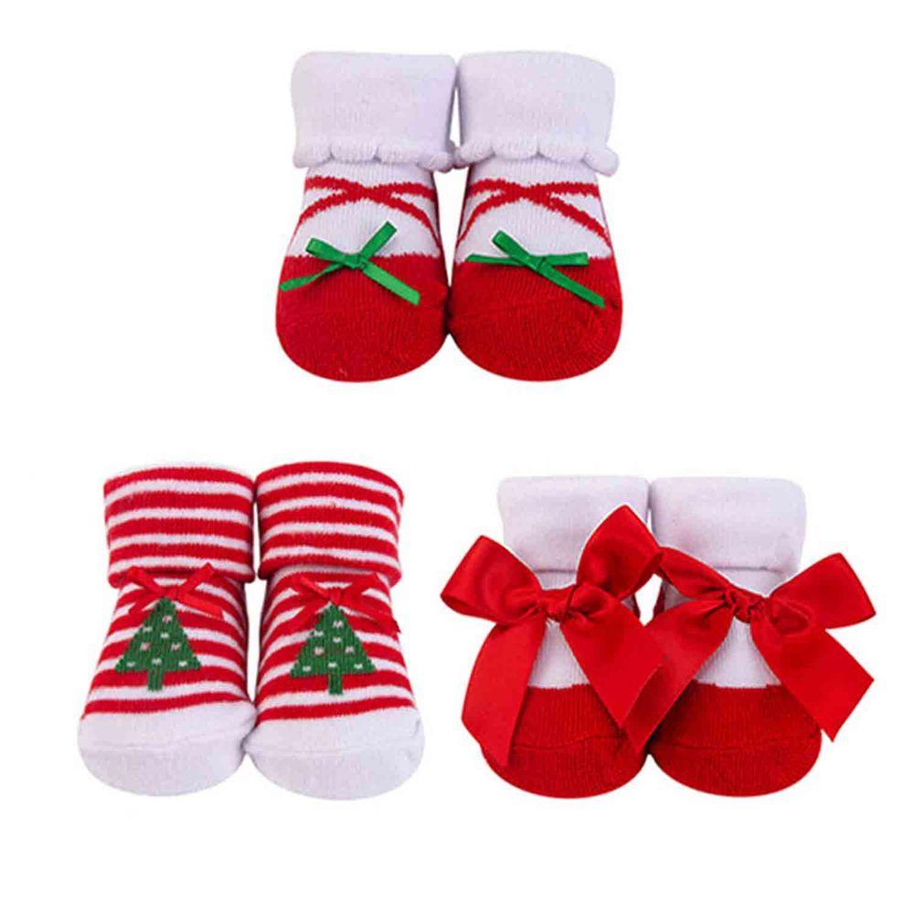 美國 Luvable Friends - 嬰兒襪/寶寶襪/初生襪 3入組-聖誕樹 (0-9M)