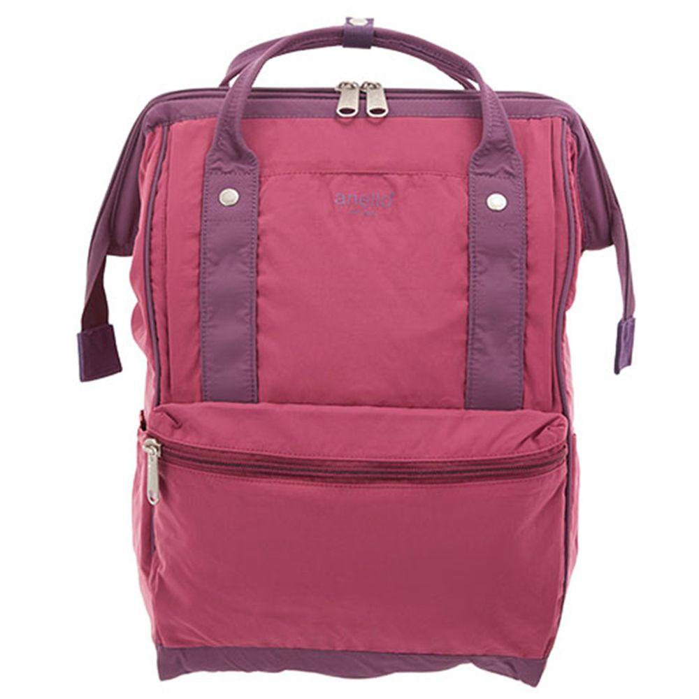 日本 Anello - 棉質尼龍風大開口後背包 10POCKET-Regular大尺寸-PI粉色