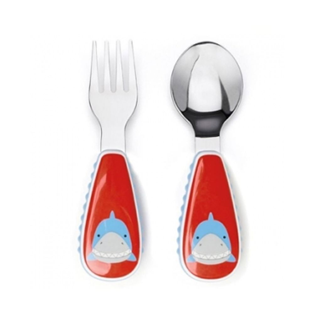美國 SKIP*HOP - 餐具叉及匙-鯊魚