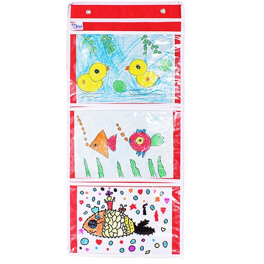 牛津布美術文件通告掛袋-A4橫款三格-紅色 (35*78cm)