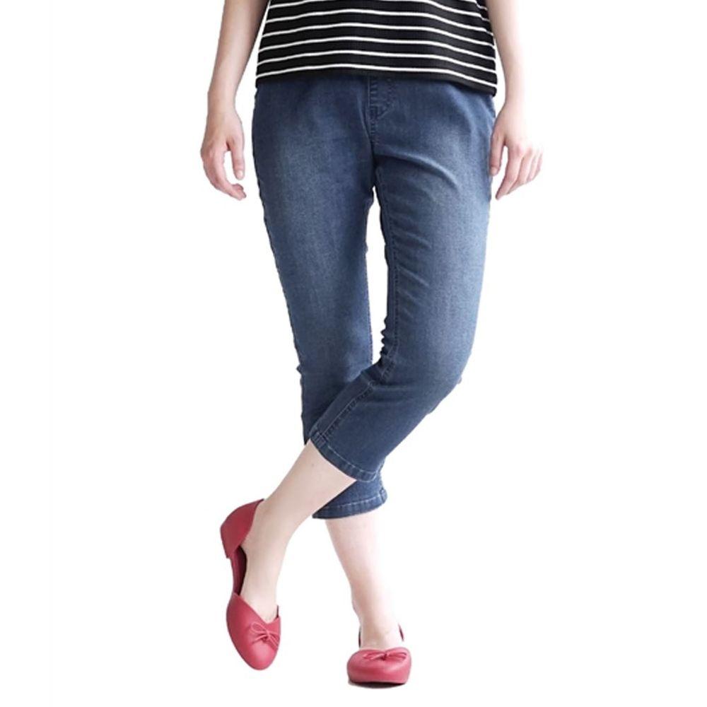 日本 zootie - Air Pants 輕薄彈性修身七分褲-牛仔藍