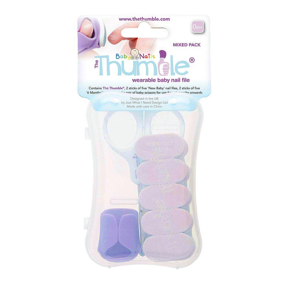 英國 Baby Nails - 大拇哥嬰兒磨甲器-新生兒 & 6m+套組-(紫色/藍色磨片各10片+指套+剪刀)