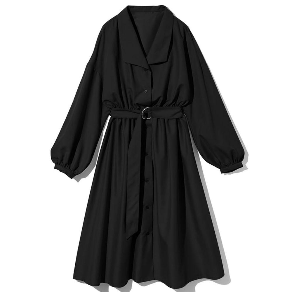日本 GRL - 襯衫領長袖洋裝(附腰帶)-黑