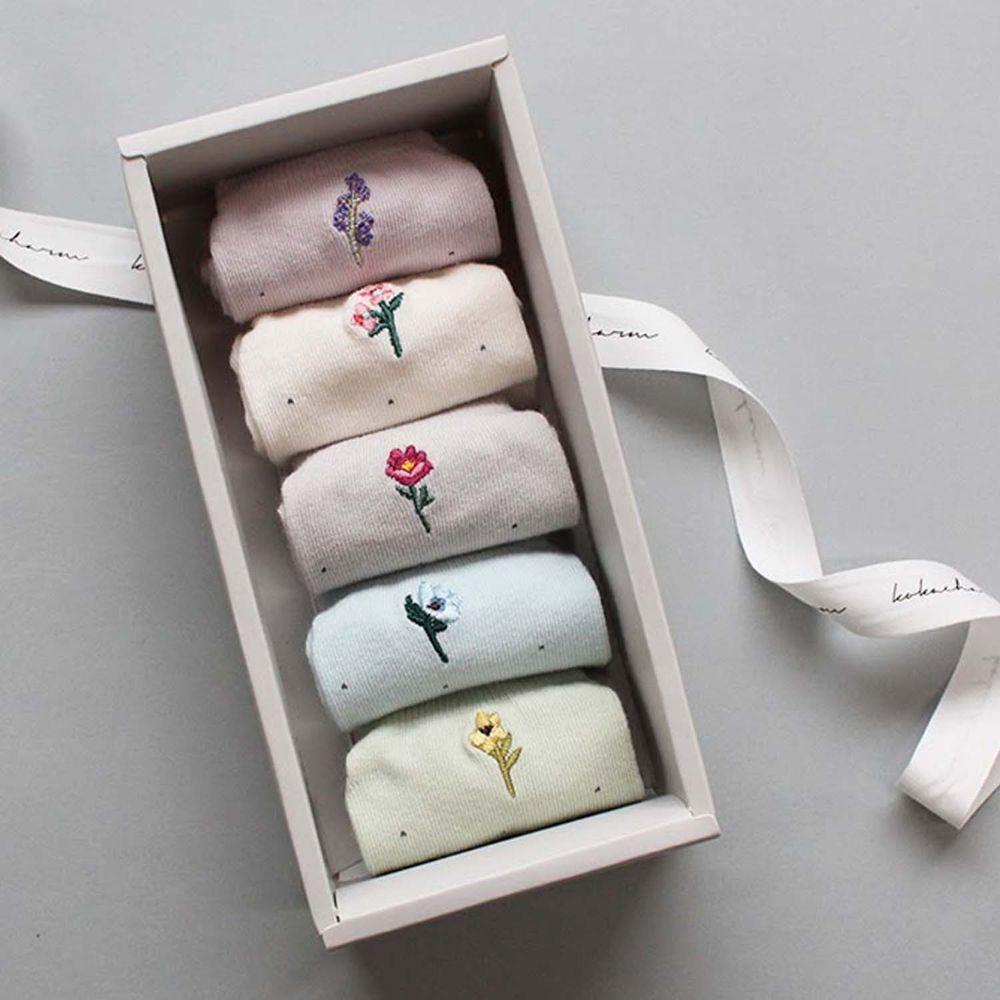 韓國 Kokacharm - 韓國製船型襪-五件組-Le jadin-紙盒裝