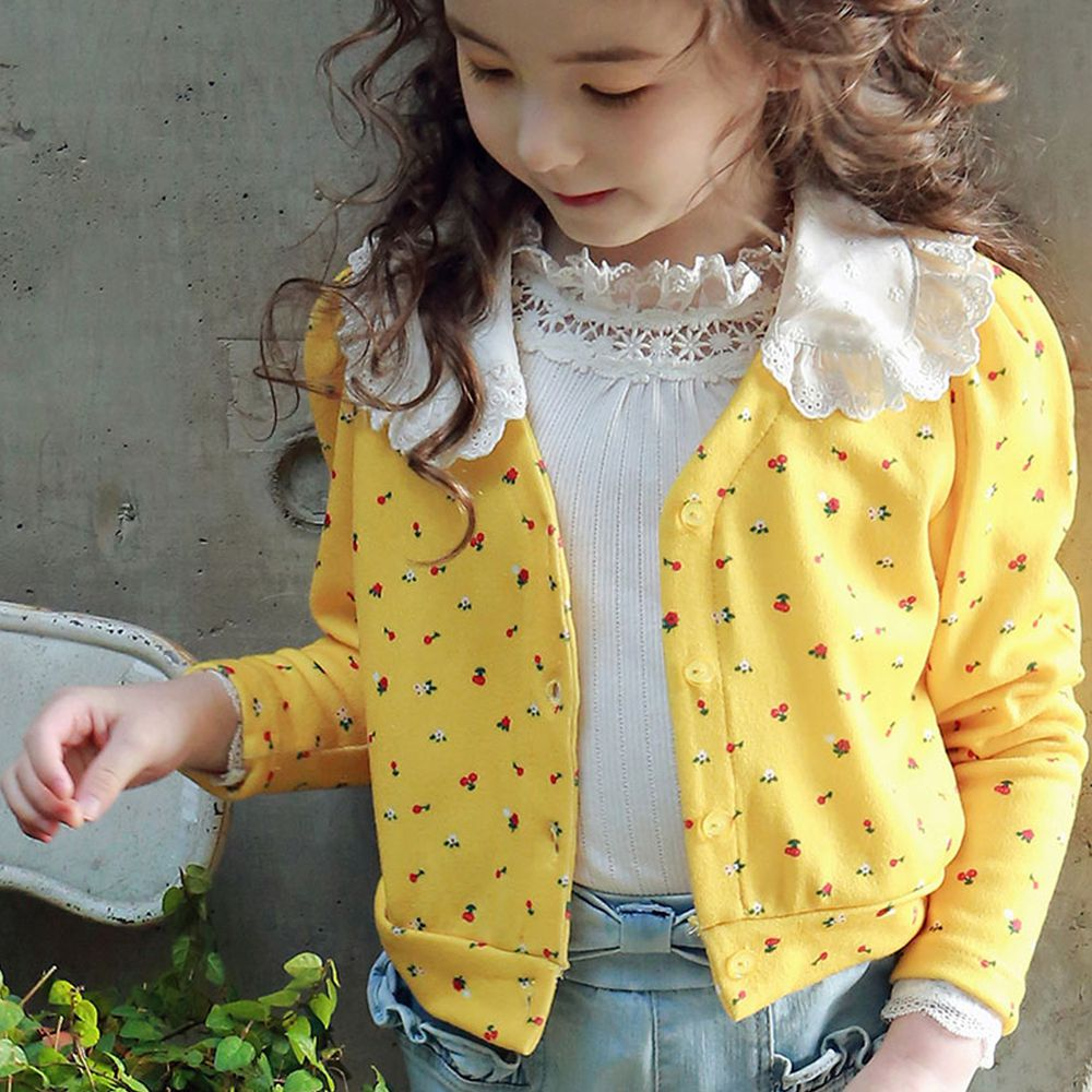 韓國 PuellaFLO - 蕾絲領小紅花小外套-黃