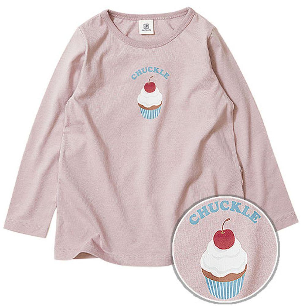 日本 devirock - 純棉 定番百搭印花長T-杯子蛋糕-紫