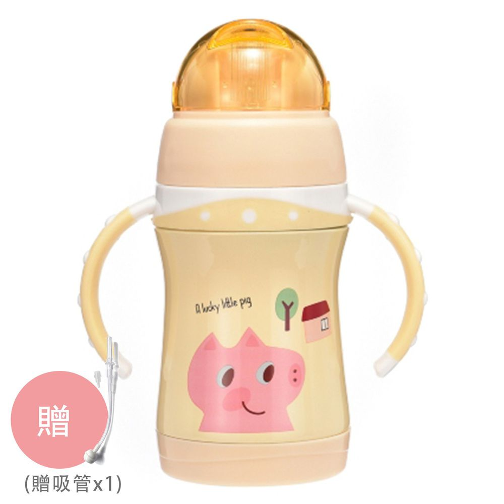 BABY TALK - 可愛動物不鏽鋼2用水杯兒童水壺-㣲笑豬-鵝黃色 260ml-獨家贈替換吸管*1