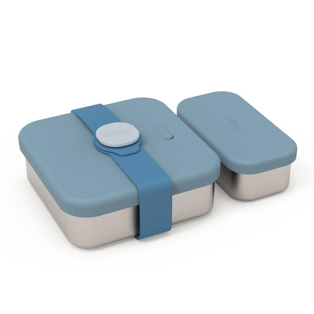VIIDA - Kassie 便當盒-316抗菌不鏽鋼-藍 (700ml+220ml)