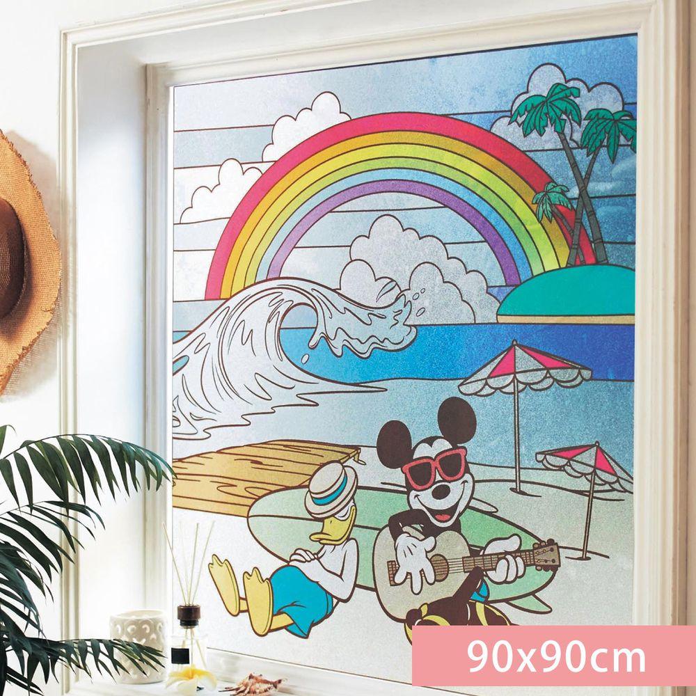 日本千趣會 - 迪士尼 日本製 90%抗UV光影窗貼(靜電式)-米奇與唐老鴨度假 (90x90cm)