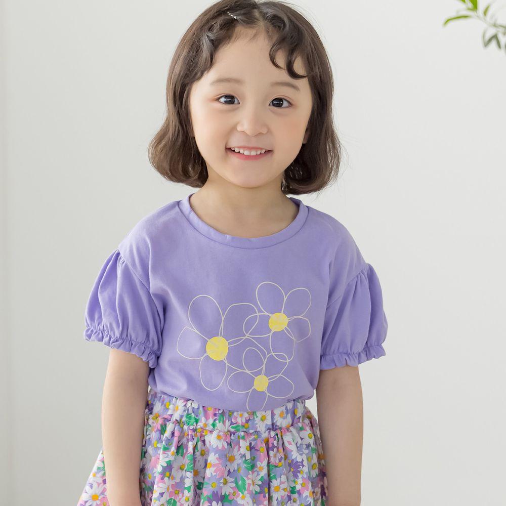 韓國 Orange Mom - 3朵花泡泡袖上衣-紫