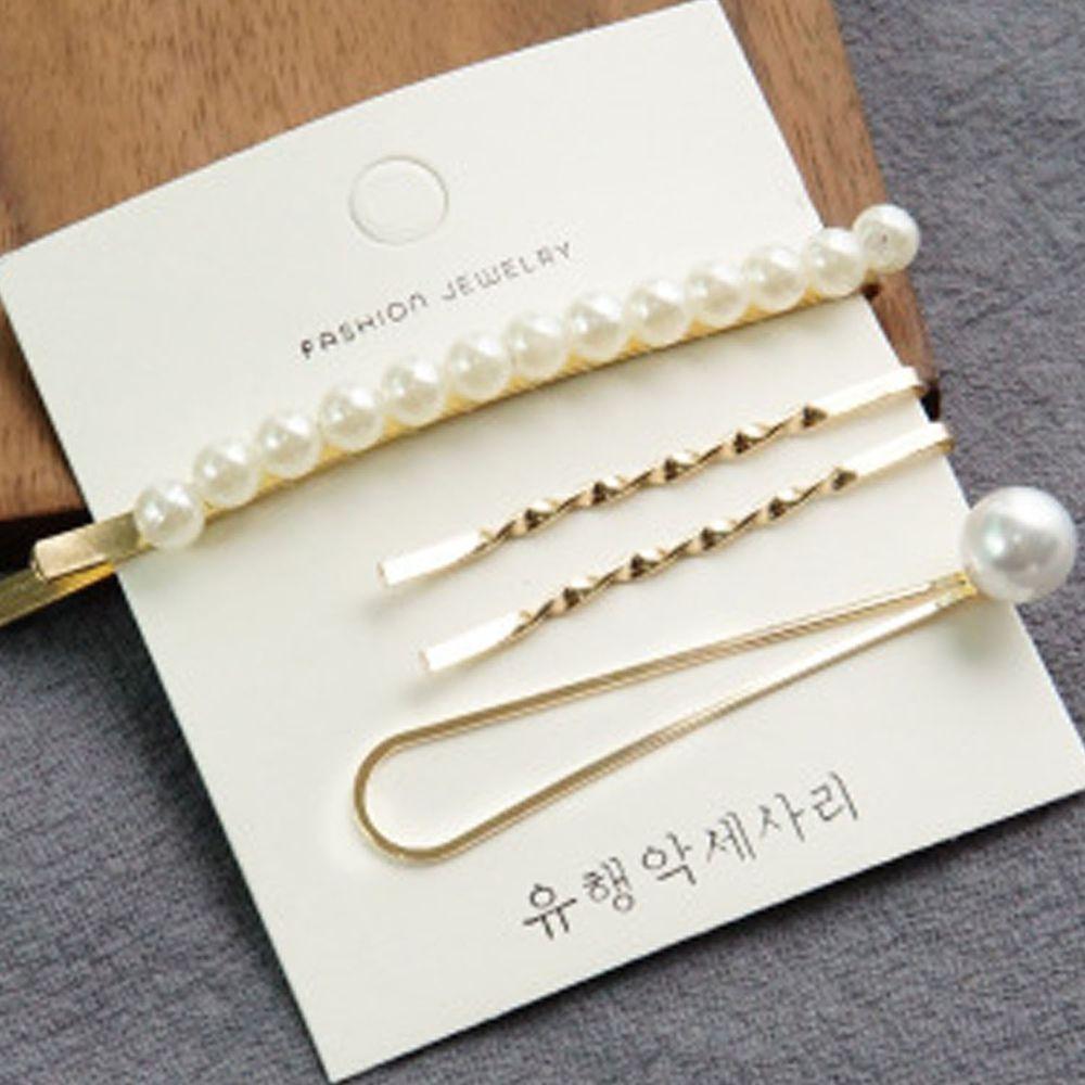 珍珠X金屬髮夾-一字夾四件組-E