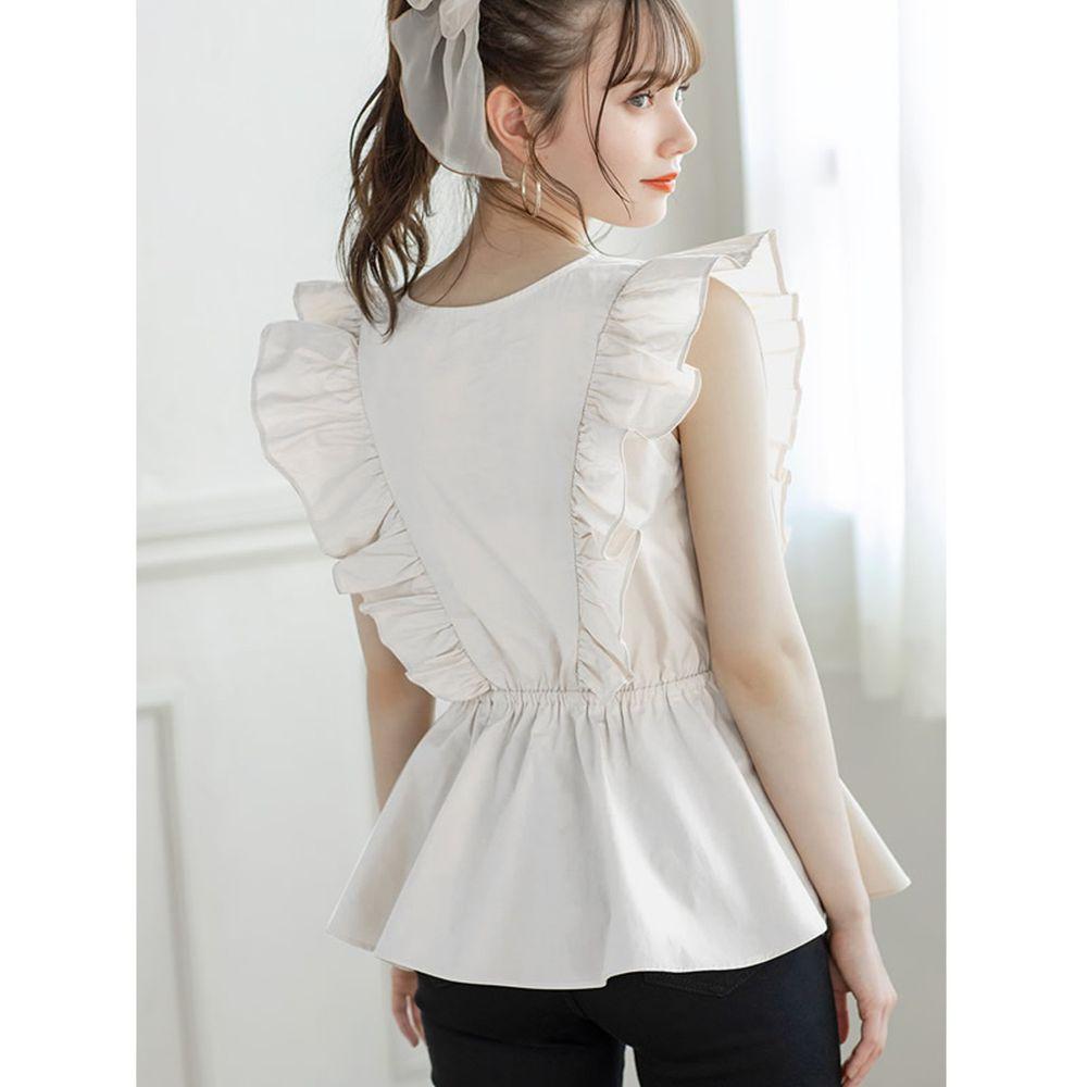 日本 GRL - 大荷葉綁帶排釦V領無袖上衣-天使白
