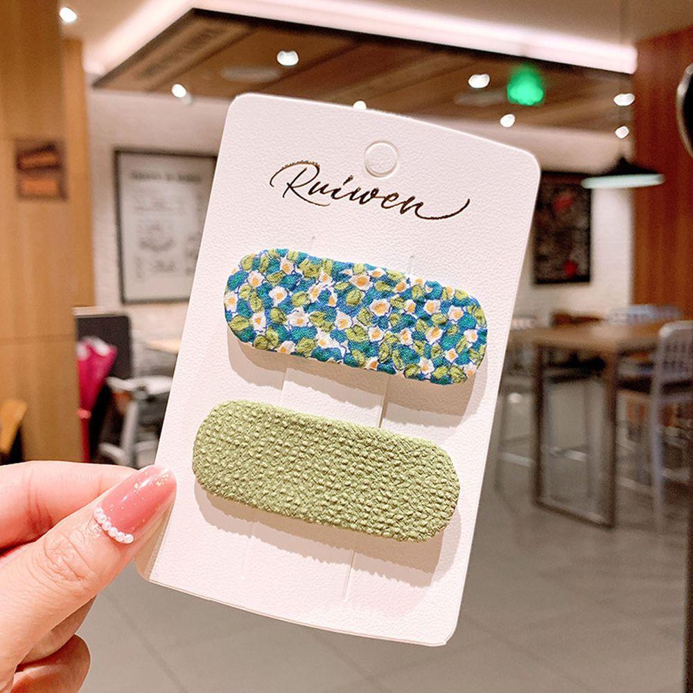 甜美印花布藝髮夾2件組-綠色