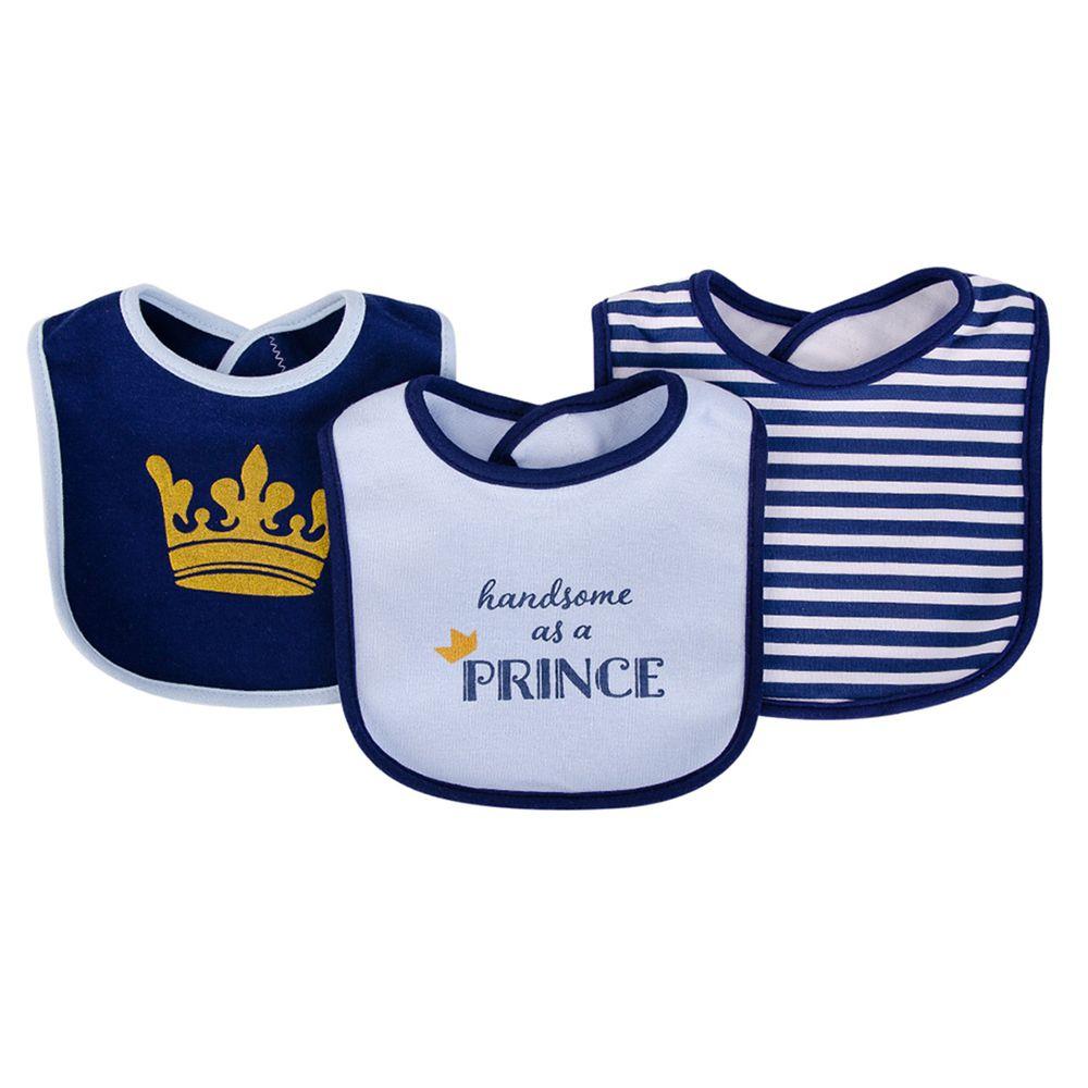 美國 Luvable Friends - 嬰幼兒雙層吸水口水巾圍兜3入組-小王子