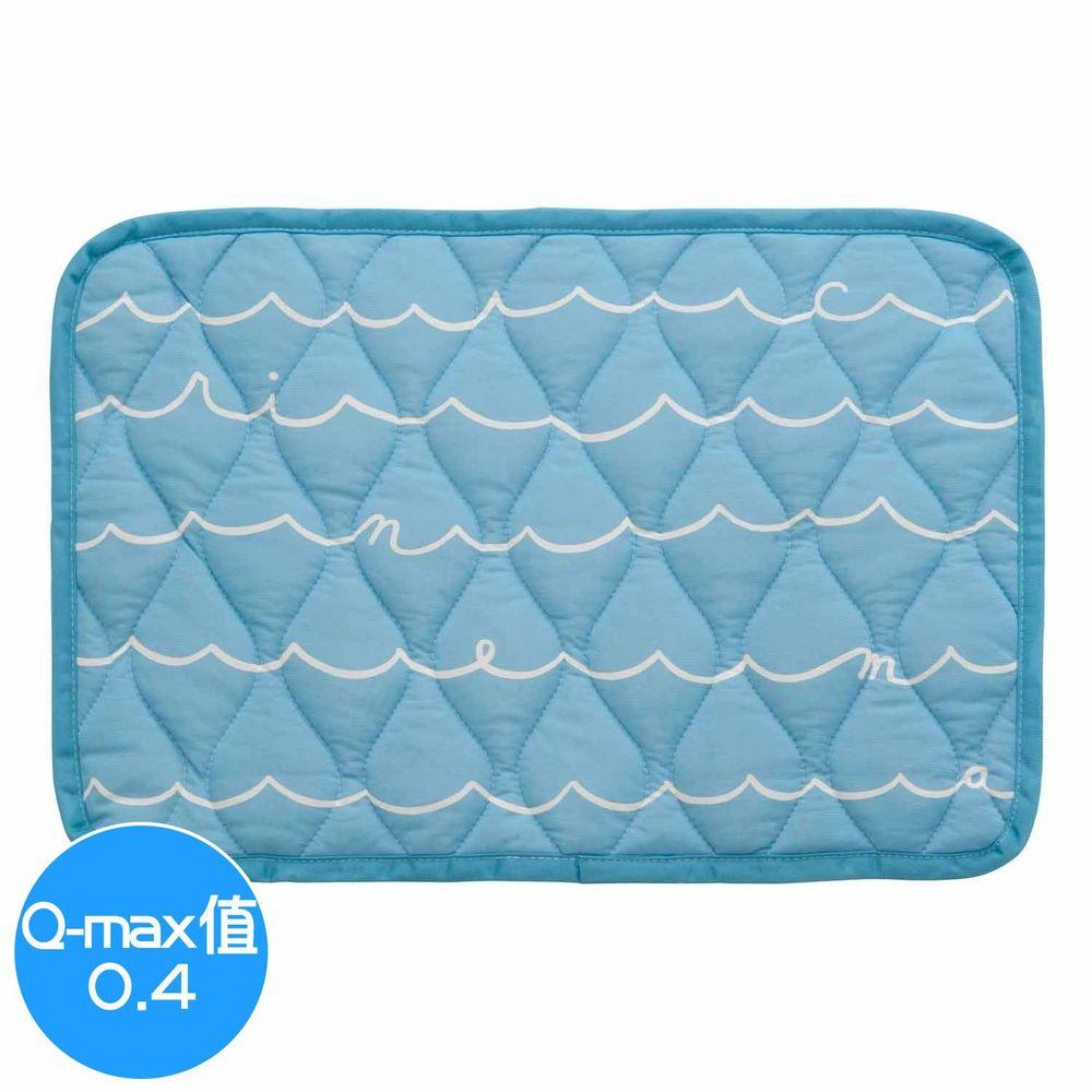 日本小泉 - 節電對策冷感波浪紋枕頭墊-簡約線條字母-水藍 (43x63cm)