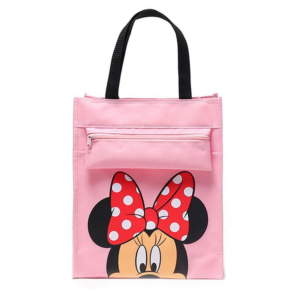 大容量手提袋/補習袋(A4可放)-卡通人物米妮-粉色