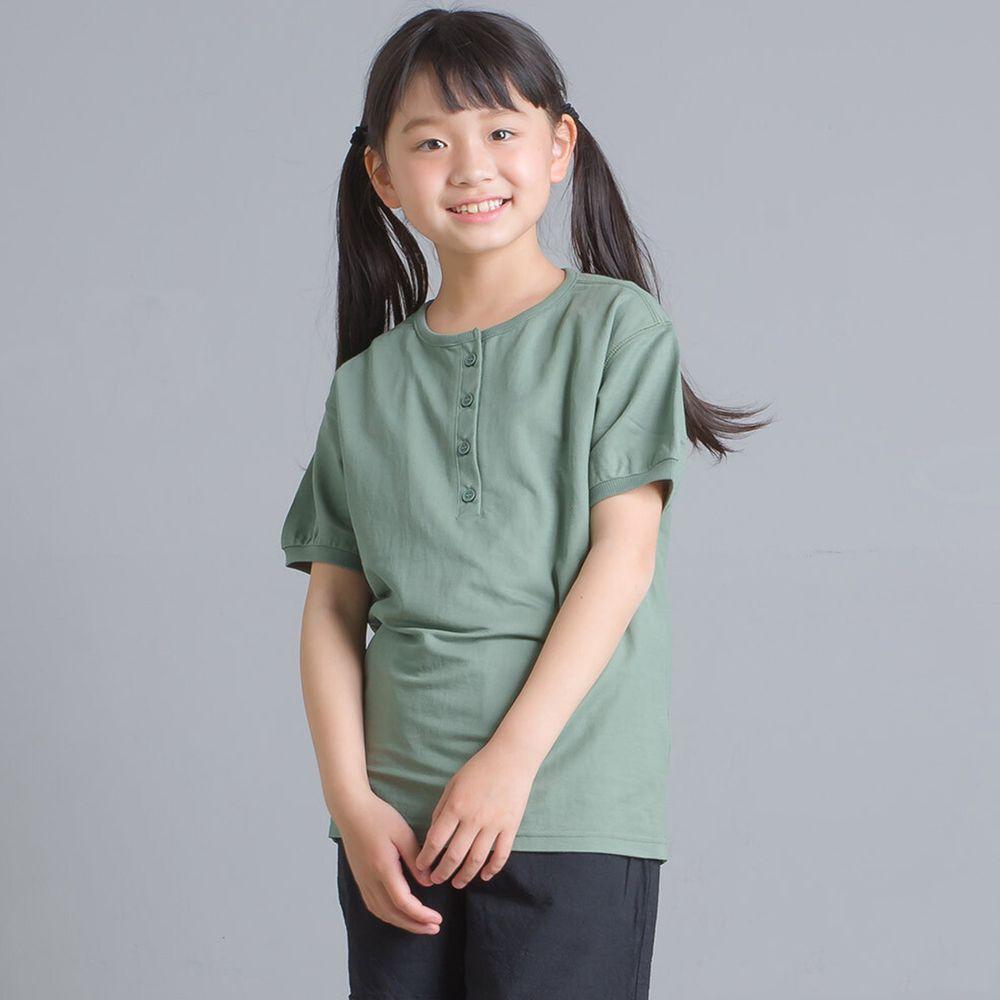 日本女裝代購 - 接觸冷感 排釦圓領短T(兒童)-綠