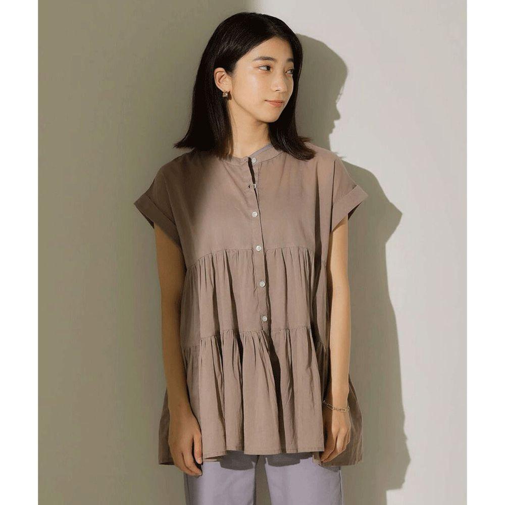 日本 Bou Jeloud - 浪漫蛋糕寬版短袖上衣-灰杏