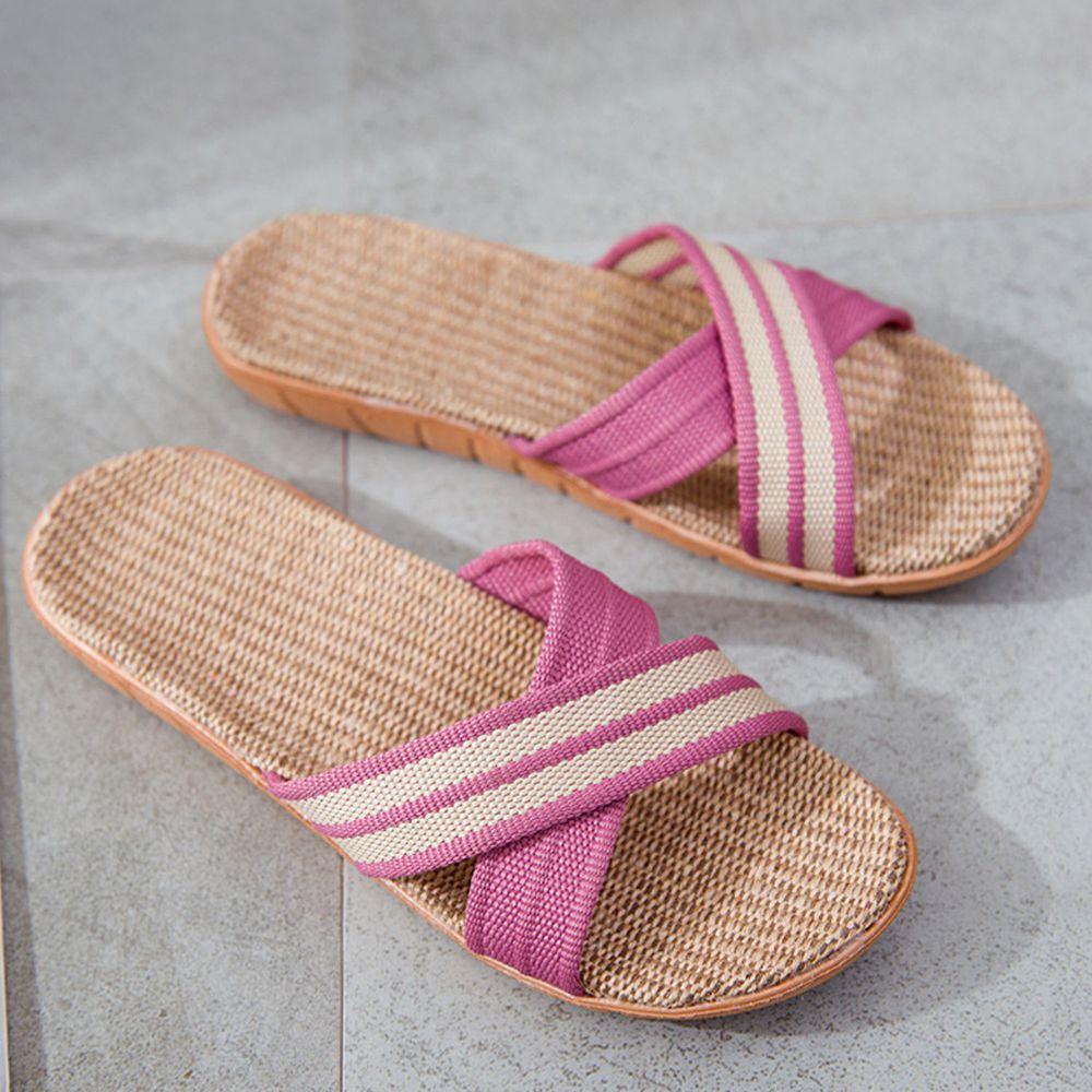 亞麻室內拖鞋-X型-粉紫色