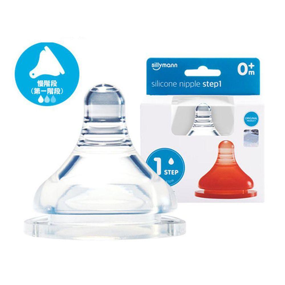 韓國 sillymann - 100%鉑金矽膠奶嘴-一階段(2入裝)-透明-新生兒