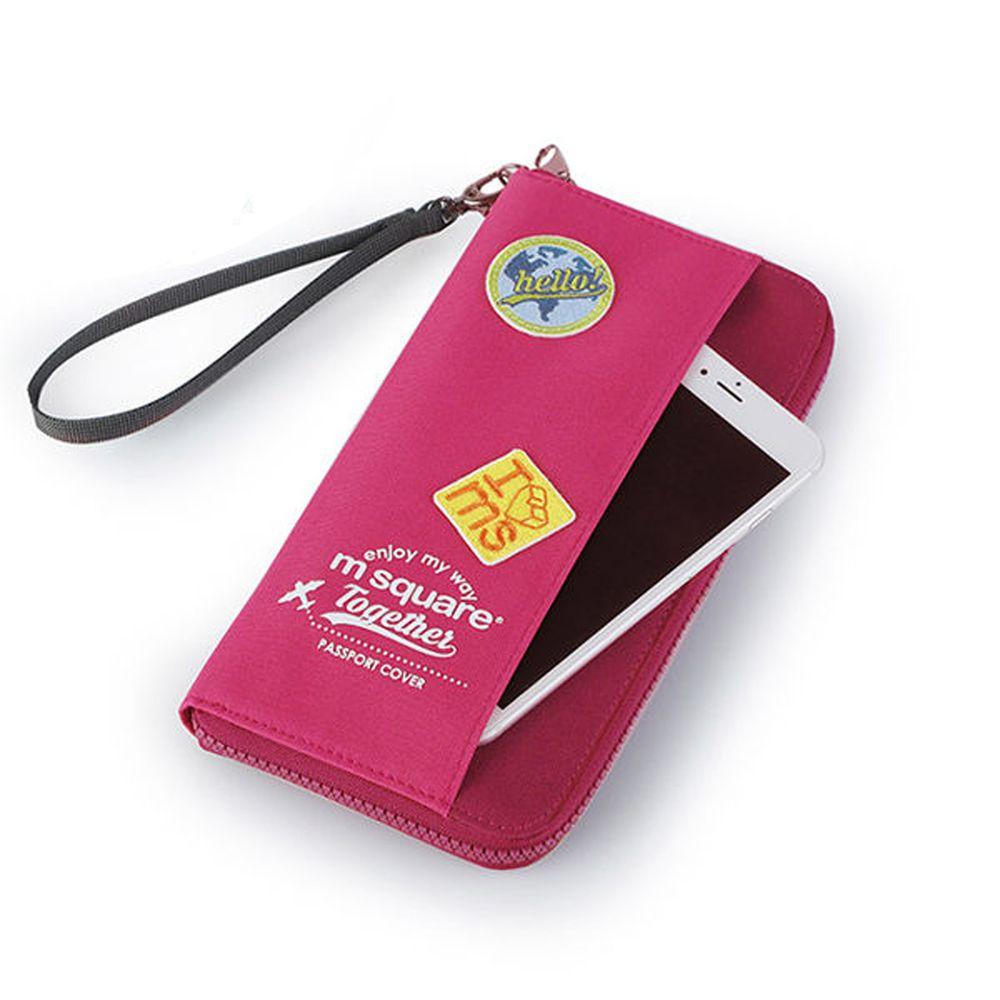 m square - 長版手挽護照夾紀念版-桃紅色 (23*12cm)
