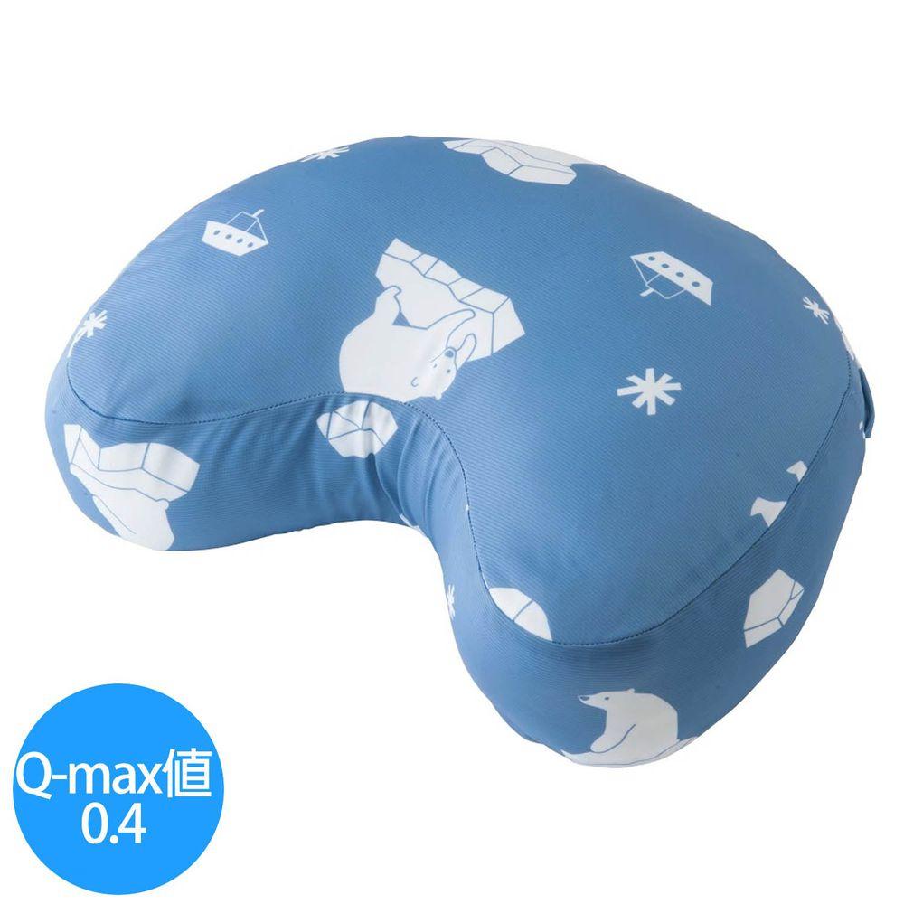 日本小泉 - 節電對策冷感月亮枕頭/午睡枕-北極熊21-水藍 (40x30cm)