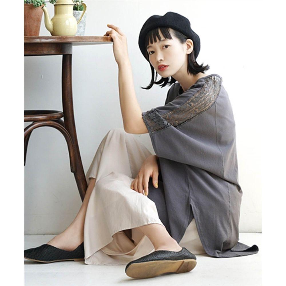 日本 zootie - 慵懶優雅前短後長雕花鏤空五分袖上衣-石墨灰 (M(Free))