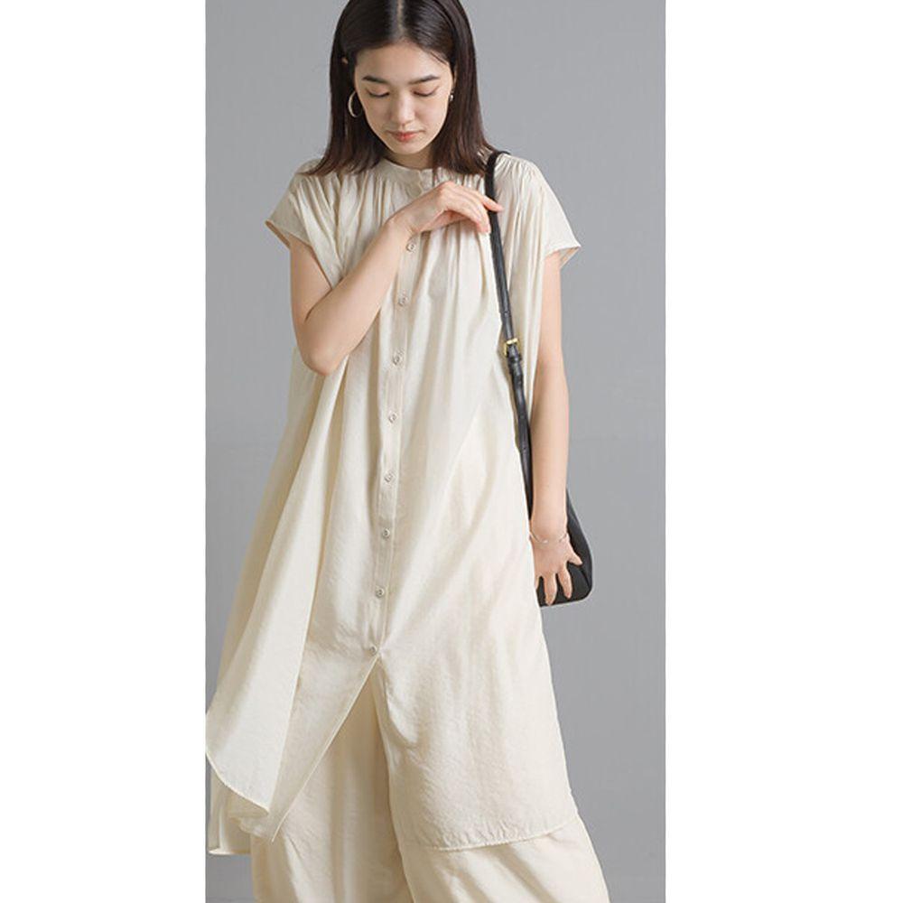 日本 OMNES - 仙氣飄飄光澤感中山領一分袖長版上衣-象牙白 (Free size)