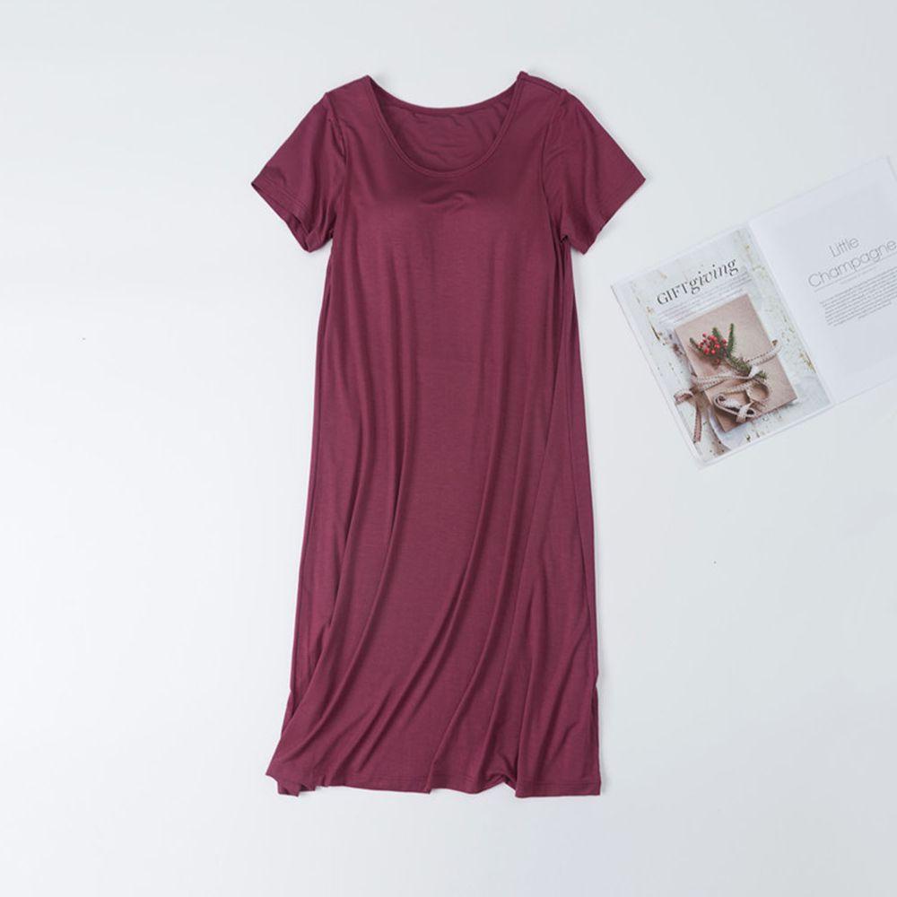 莫代爾柔軟涼感Bra T睡裙-紫紅色