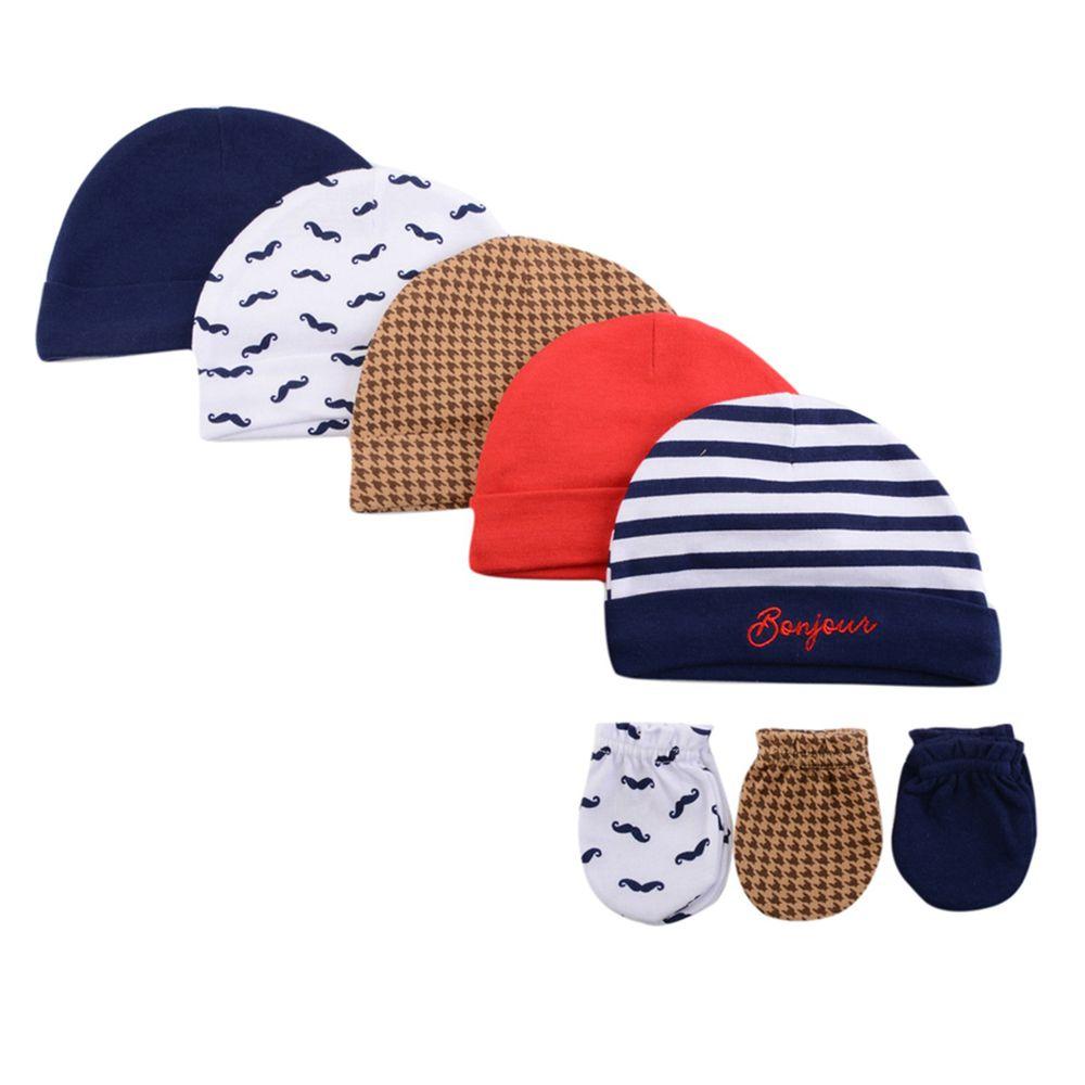 美國 Luvable Friends - 100%純棉新生兒棉帽 保暖帽5件組+防抓手套 護手套3入組-藍色翹鬍子 (0-6M)