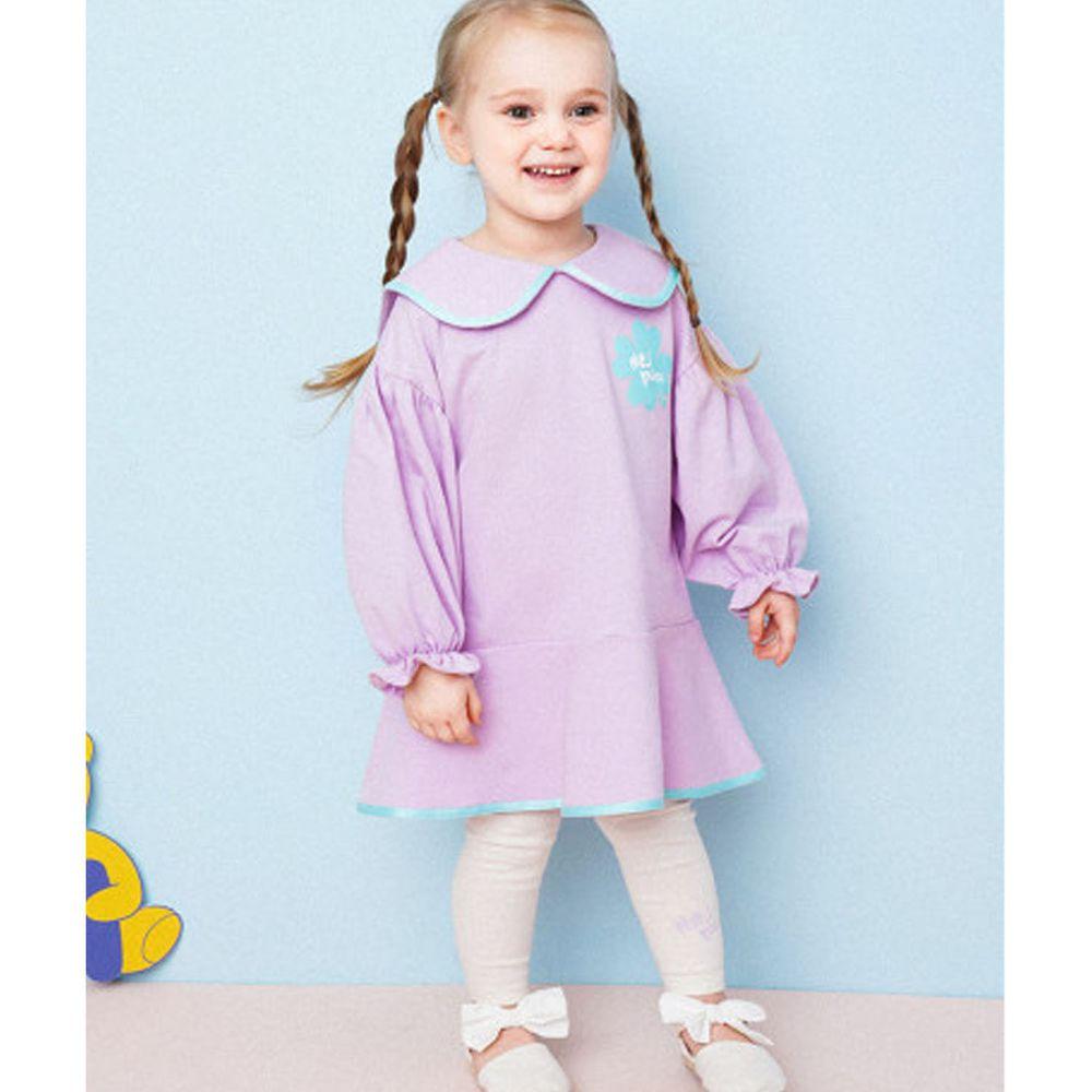 韓國 HEJMINI - 幸運草泡泡袖荷葉裙襬套裝-紫