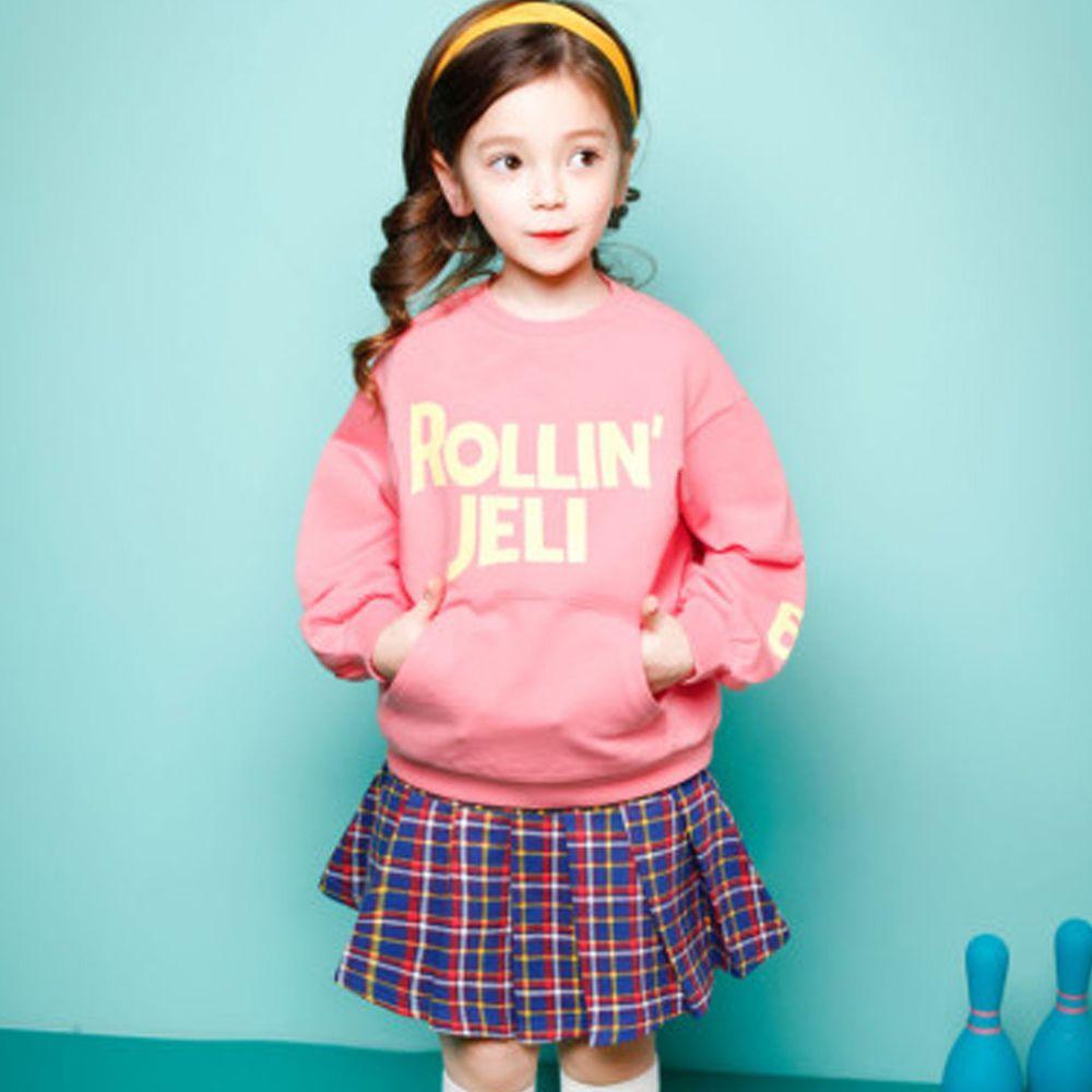 韓國 Jelispoon - 運動風格紋短裙套裝-粉紅