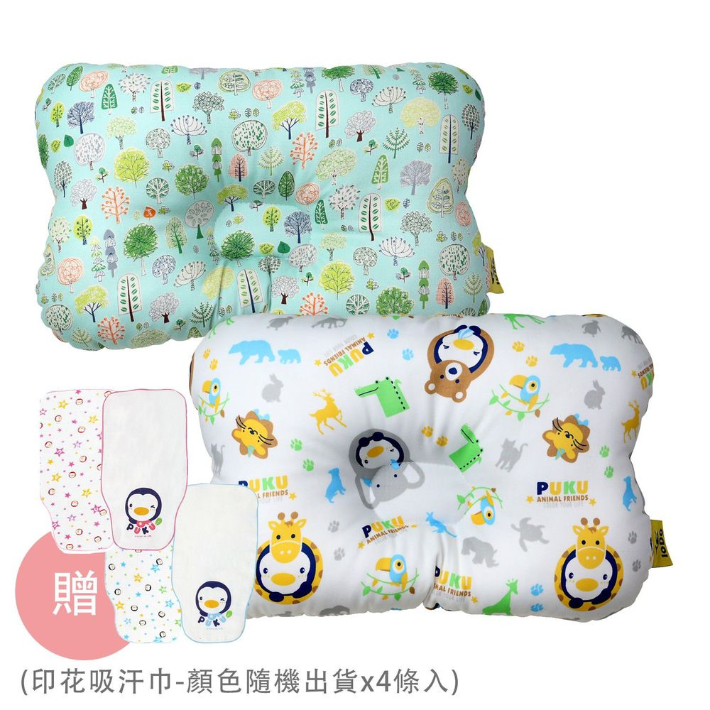 PUKU 藍色企鵝 - Breeze 透氣雲朵枕/護頭枕-2 入組-動物家(水色)x1+森林公園x1-買贈印花吸汗巾-顏色隨機出貨x4條入