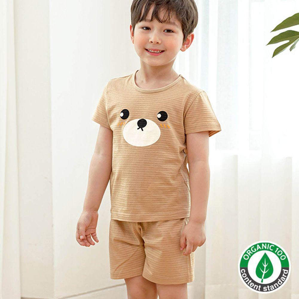 韓國 Maykids - 有機棉緹花短袖家居服-巧克力棕熊