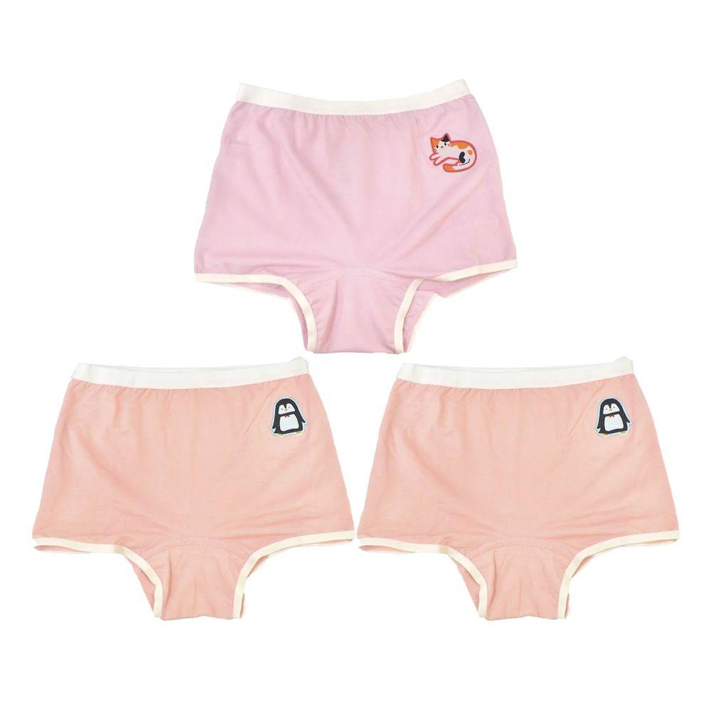 貝柔 Peilou - 天絲棉舒膚平衡童女四角褲-貼布繡-3件組-小貓*1+企鵝*2-粉+橘