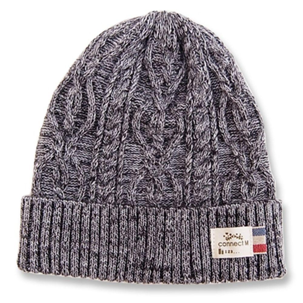 日本 Connect M - 日本製可愛冬帽-小童款-純色針織帽-深灰-83-6008
